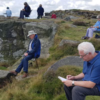 Outdoor sketching at Curbar Edge